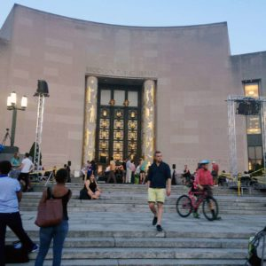 Concert on the steps of the Brooklyn Public Library, just a few train stops or a scenic walk away.
