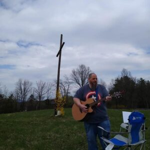 A hymn at Easter sunrise service