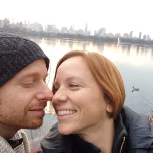 The moment after our engagement at the Central Park Reservoir, and just before donuts