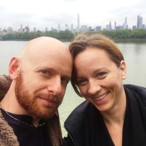 Our anniversary tradition, having donuts at the Central Park Reservoir