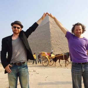 Framing the Giza Pyramid with my great friend Andrew
