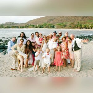 Celebrating our wedding on the beach in Mexico with our closest friends and family