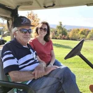 Playing a round of golf with grandpa for his 90th birthday!