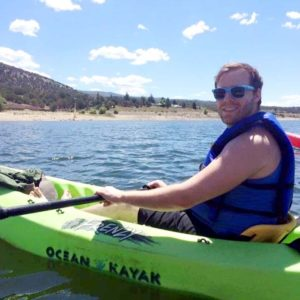 Kayaking with a friend on a lake when we lived in Utah - we tried to take advantage of the hiking and nature as much as possible!
