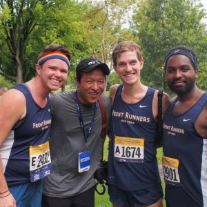 Hanging out with friends from my running club after a race in Central Park, NYC.