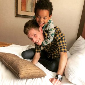 Playing with my godson Tariq during a visit to NYC.