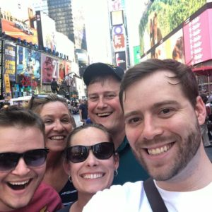 Selfie in Times Square — always excited to see shows with the family when they visit!