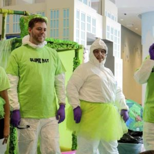 Slime Day at the hospital, where patients pulled the lever to slime some of their favorite staffers. (It was cold!)
