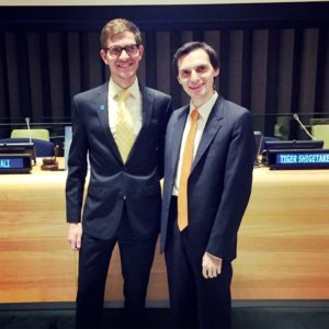 At the United Nations with a colleague for a panel on LGBT youth and human rights internationally.