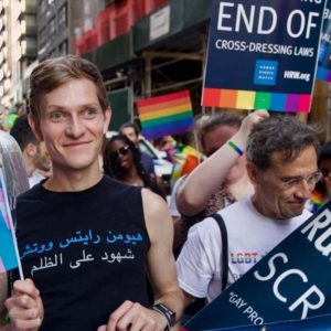 Marching to promote LGBT rights during World Pride in NYC.