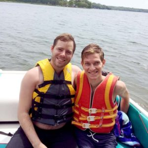 Taking a pontoon ride with Ryan's family at his grandparents' lake cabin in Minnesota.