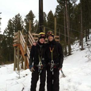 Ziplining on vacation in the mountains of Montana, where we got engaged.