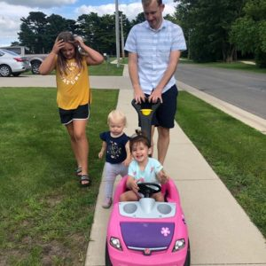 Shawn taking the kids on a ride - Sienna and his nieces Lola and Haysley