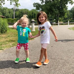 Sienna and friend Jadzia, strolling in the park