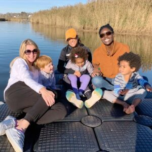 Nicola with her dear friends Vimla and Senami and the kids, on the dock in East Hampton, New York