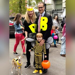 A family of bees!  Trick-or-treating in our neighborhood in New York City