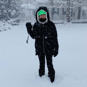 Nicola enjoying the big snow storm at our house in CT!