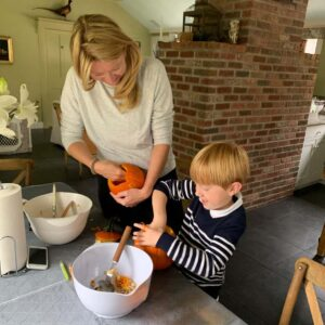Carving pumpkins in our kitchen in Connecticut