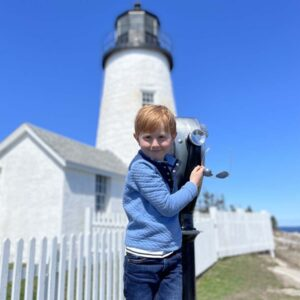 Sebbie at Pemaquid Point lighthouse in Maine