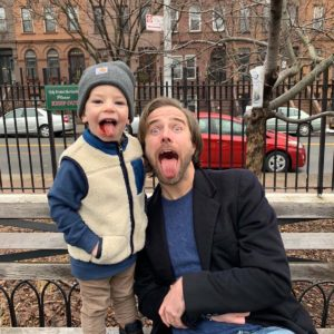 Sam and our friends' son Henry enjoying a Jujyfruit snack at the playground on our block in Brooklyn.