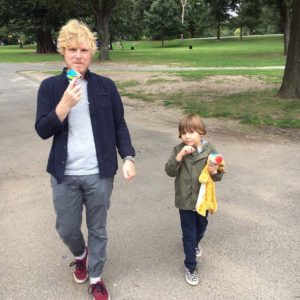 Snow-Cones for everyone! Eric and our friend Julia's son Henry having a cool treat while strolling through Prospect Park Brooklyn.
